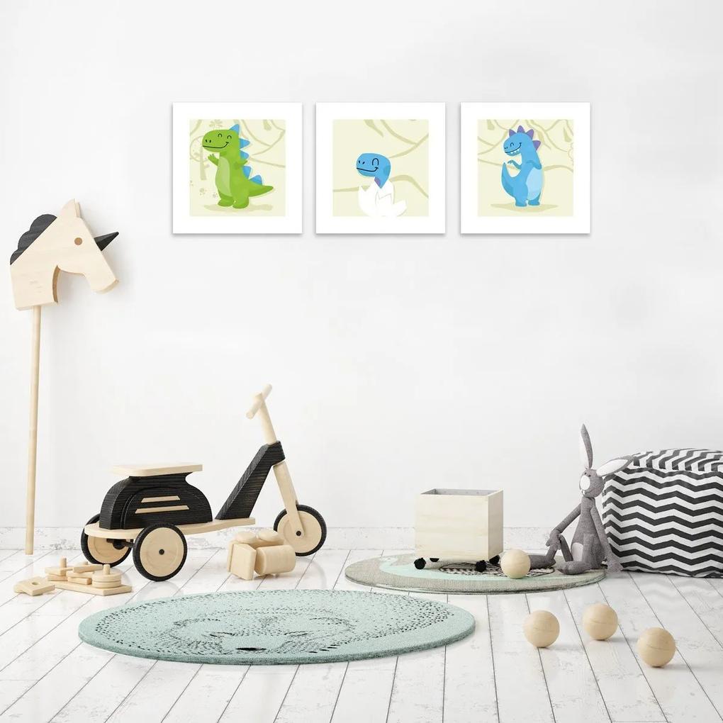 Kit 3 Quadros Decorativos MDF Infantil Dinossauro Bege e Branco25x25cm