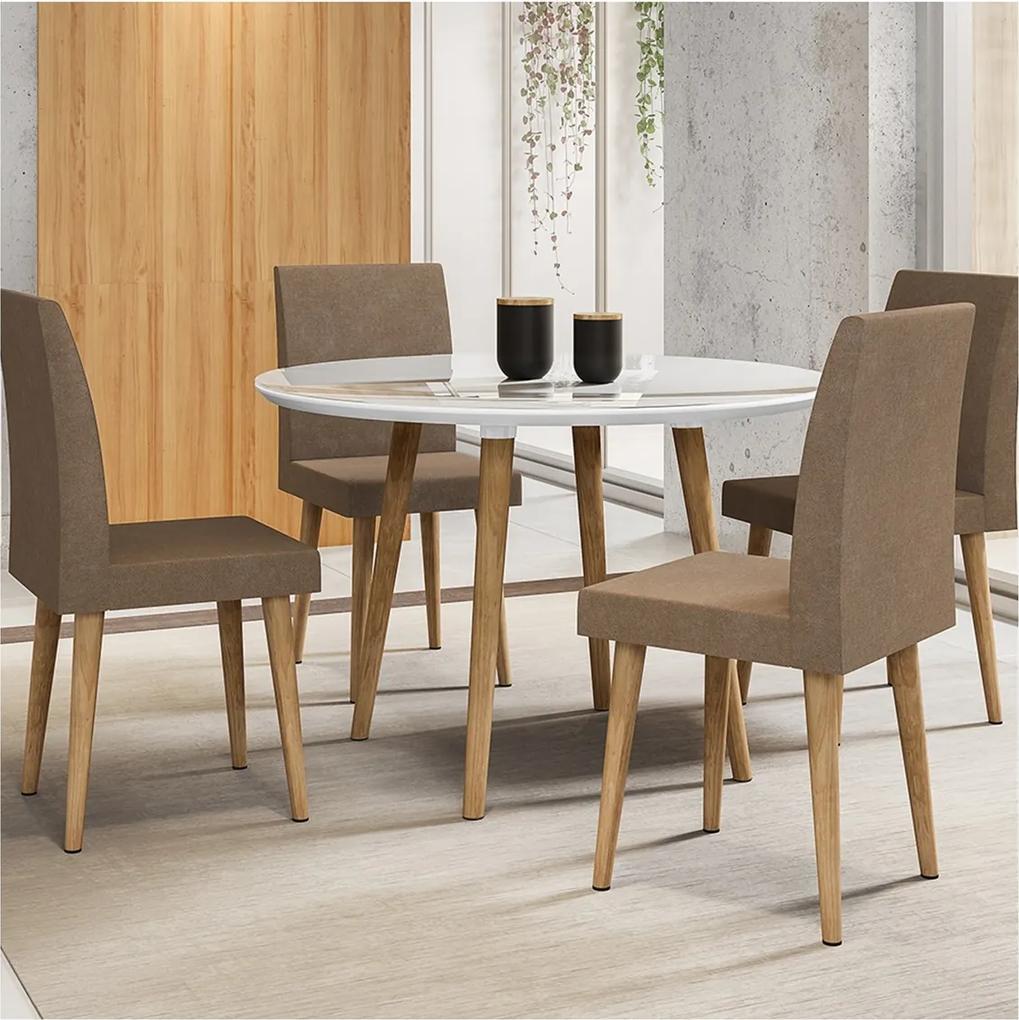 Mesa De Jantar Turmalina Branco com 4 Cadeiras Jade Pena Caramelo Palito – RV Móveis