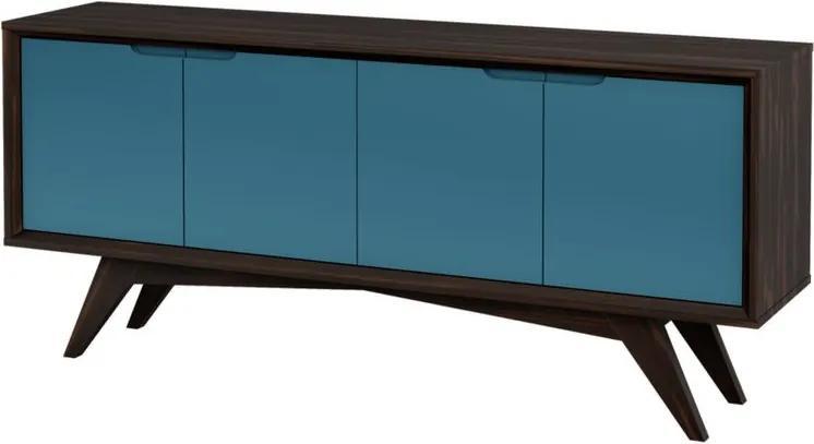 Buffet Querubim 4 Portas Envelhecido e Azul - Wood Prime MP 27607