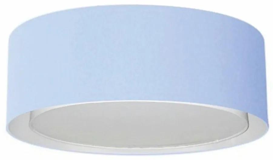 Plafon Cilíndrico Duplo Vivare Md-3038 Cúpula em Tecido 80x30cm - Bivolt - Azul Bebê - 110V/220V (Bivolt)