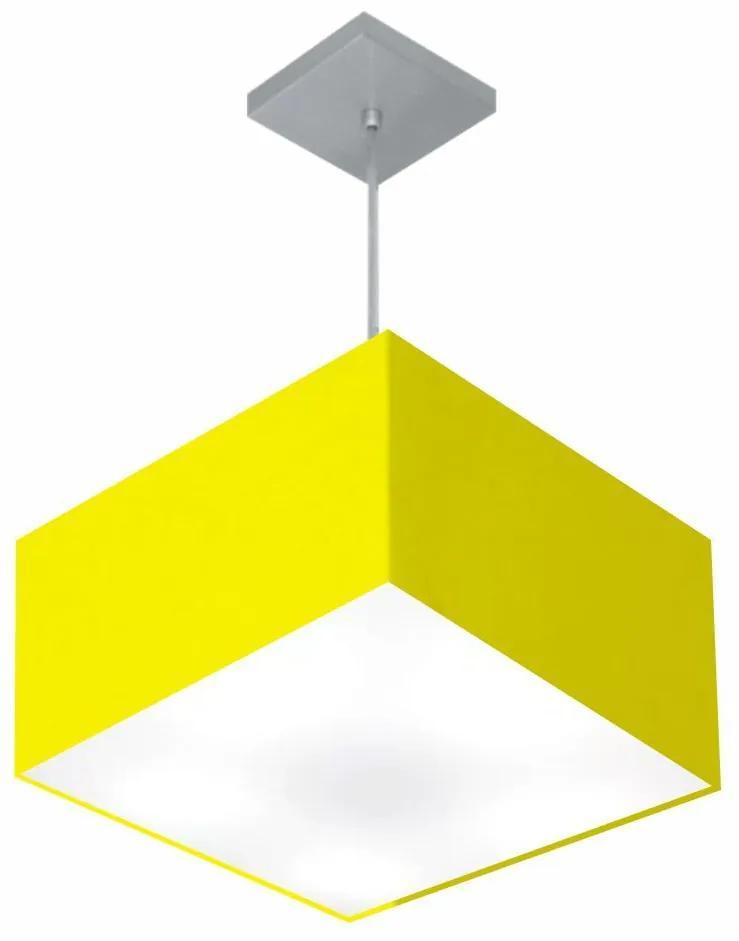 Lustre Pendente Quadrado Vivare Md-4020 Cúpula em Tecido 21/35x35cm - Bivolt - Amarelo - 110V/220V (Bivolt)