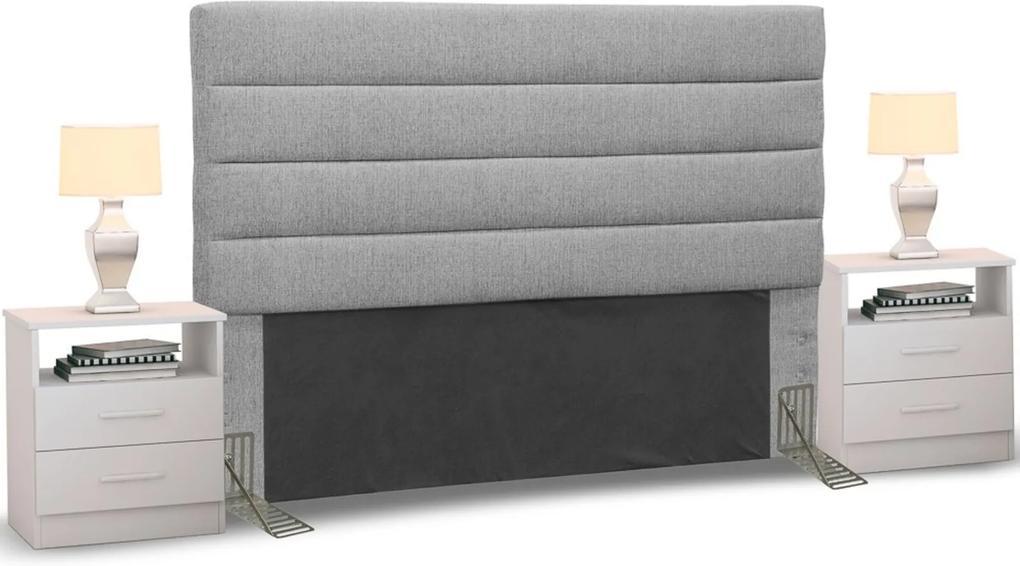 Cabeceira Cama Box Casal Queen 160cm Greta Linho Cinza e 2 Mesas de Cabeceira AD1 Branco - Mpozenato