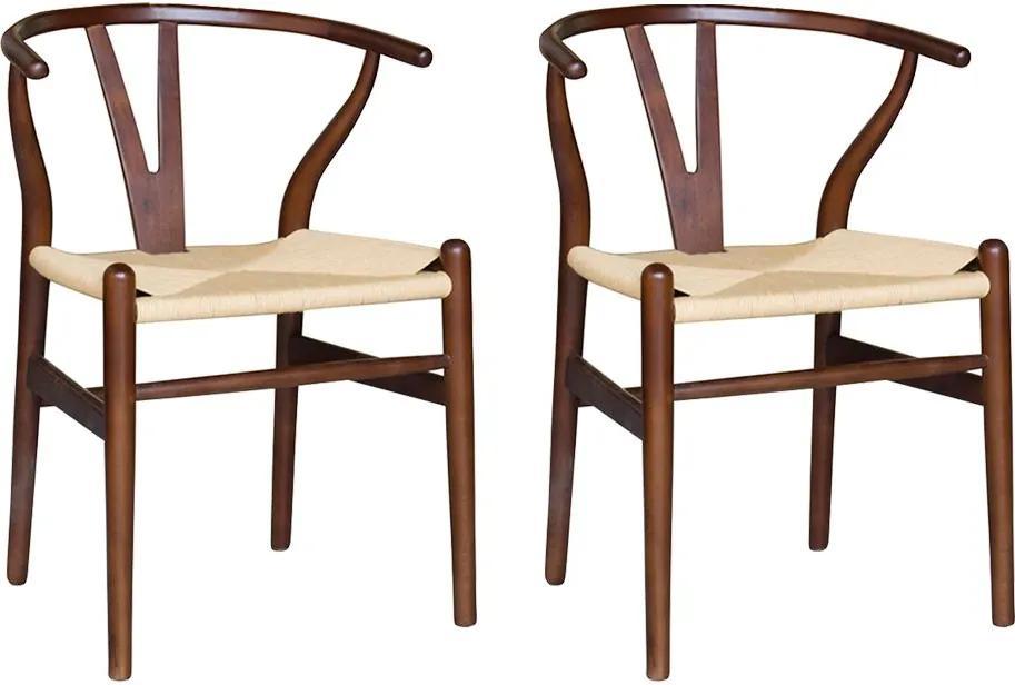 Kit 2 Cadeiras Decorativas Sala de Jantar e Cozinha Bella Madeira Bétula Tabaco - Gran Belo