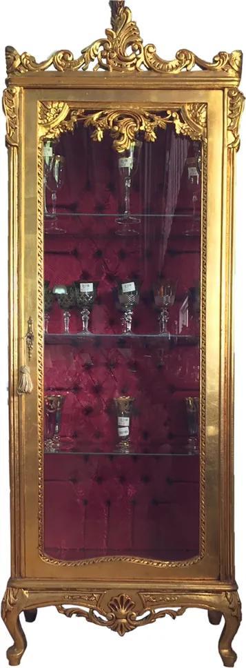 Cristaleira Luis XV Dourada em Madeira Maciça com Interior em Capitonê - 199x70x47cm