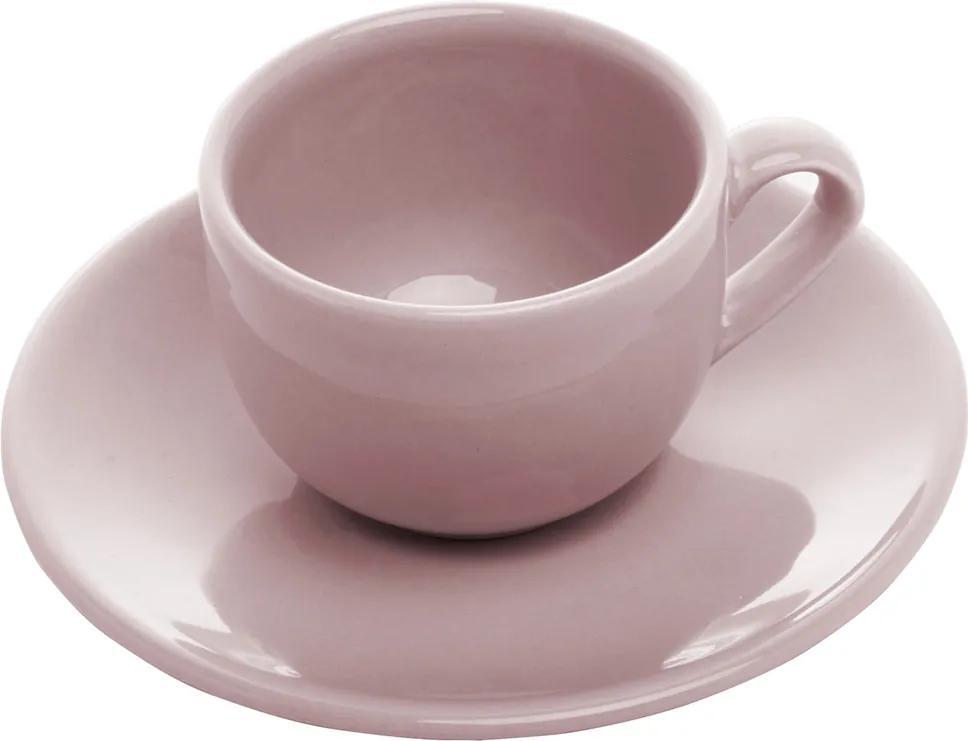 Conjunto 6 Xícaras Cerâmica Para Café Com Pires Antalia Granite 125ml