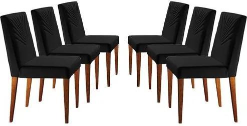 Kit 6 Cadeiras de Jantar Estofada Preta em Veludo Kurs