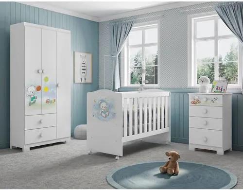 Quarto de Bebê Completo Ursinho nas Nuvens  - Branco