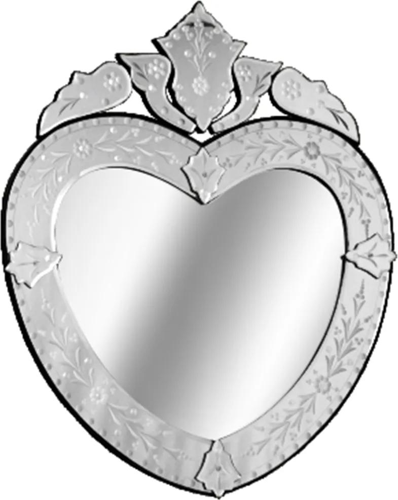 Espelho Veneziano Com Moldura Bisotada e Formato de Coração