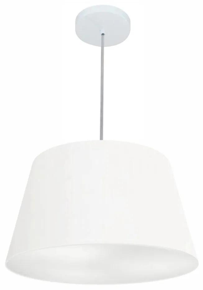 Lustre Pendente Cone Vivare Md-4021 Cúpula em Tecido 21/40x30cm - Bivolt - Branco - 110V/220V (Bivolt)