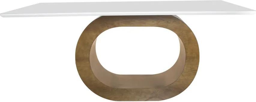 Mesa De Jantar Barollo com Vidro 200x100 Canto Moeda Branco - Wood Prime 36117