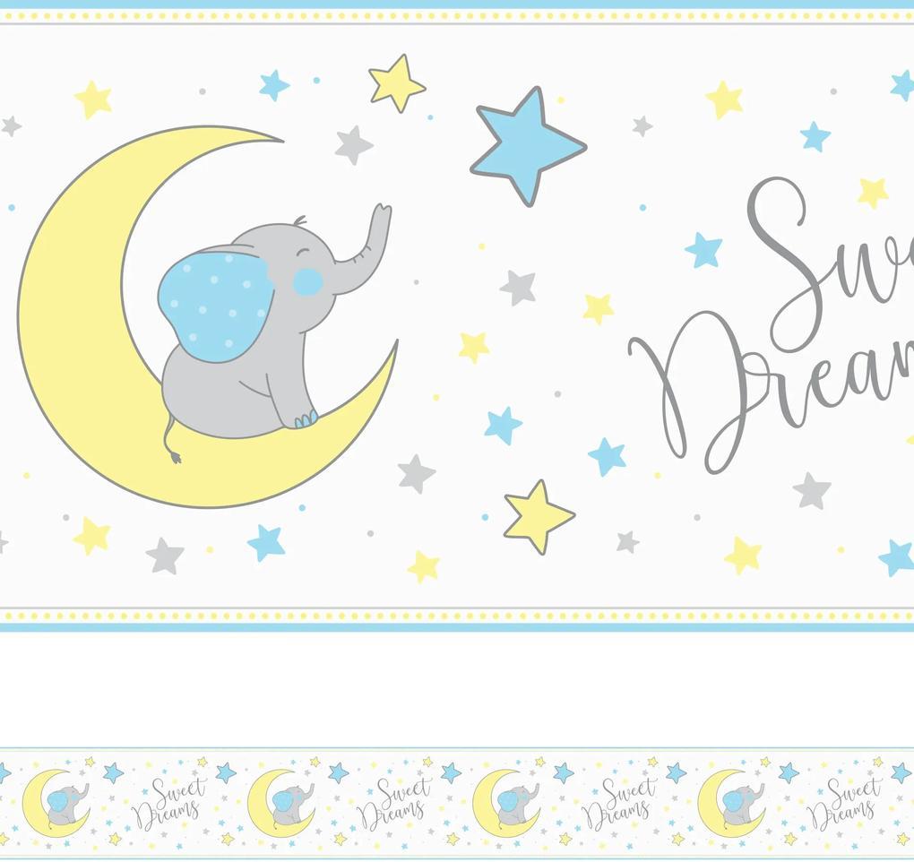 Faixa de Parede Elefante Azul Infantil 6mx15cm