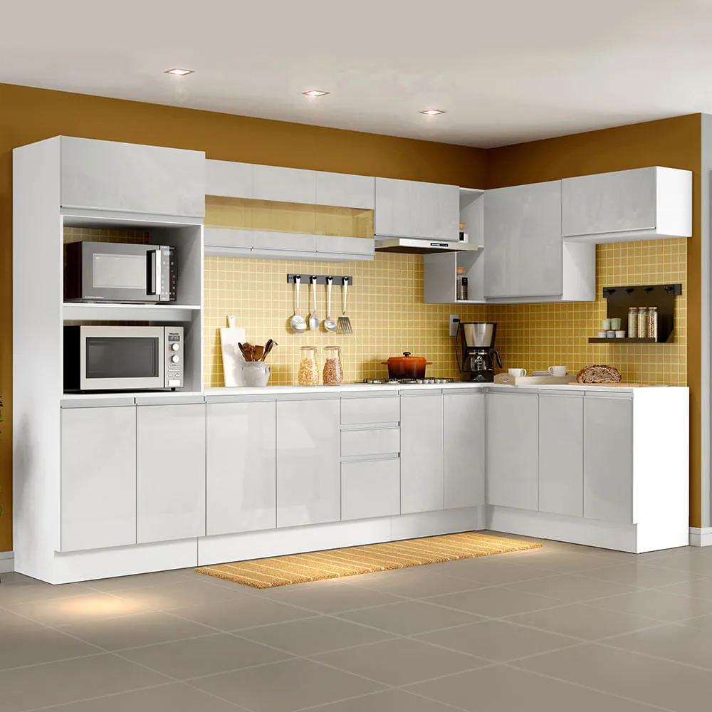 Cozinha Completa 100% MDF Madesa Smart Modulada de Canto Frentes Branco Brilho Cor:Branco