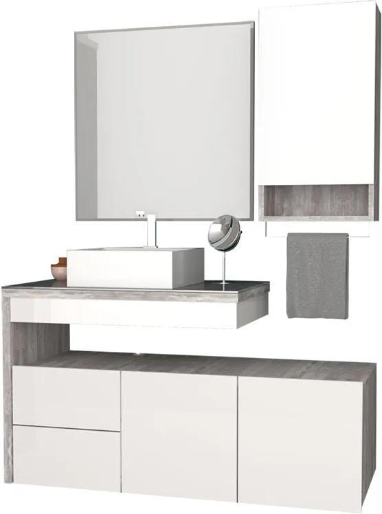 Conjunto De Banheiro Completo Aimoré 100 Cozimax Branco/calcare