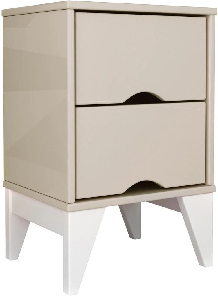 Mesa de Cabeceira 2 Gavetas Twister Off White/Branco TCIL Móveis
