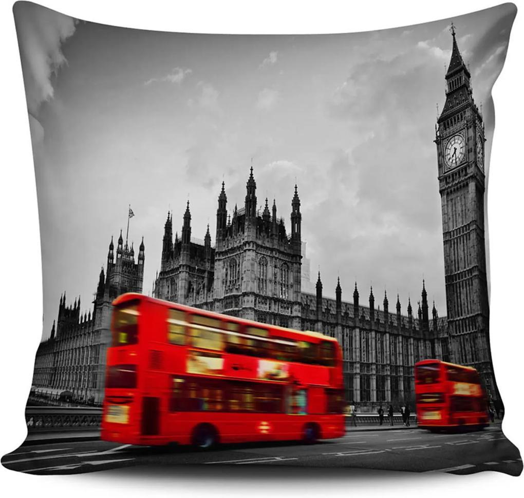 Almofada Londres Big Ben 42x42cm com enchimento