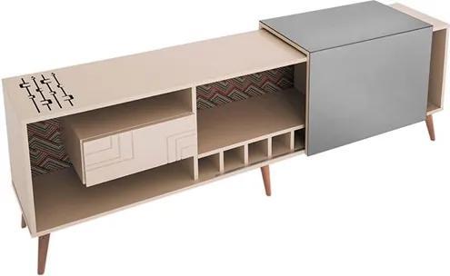 Buffet Nero 210cm com Espelho e Pés Palitos Fundo Impresso