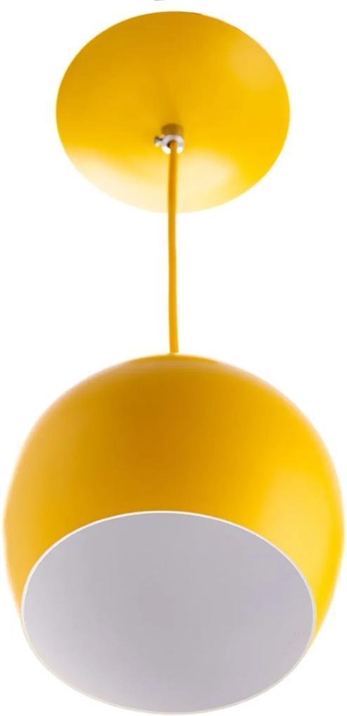 Lustre Pendente Bola Pequena De Alumínio 15cm Amarelo