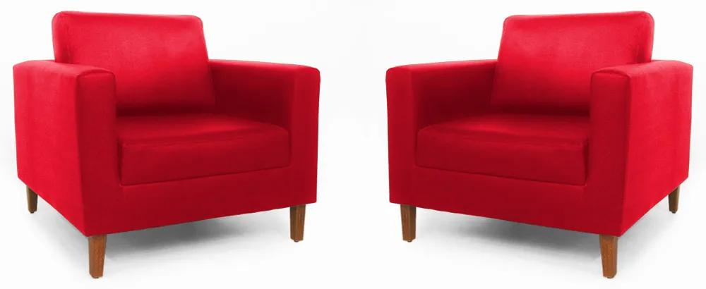 Conjunto 2 Poltrona Decorativa Gabriela Suede Vermelho