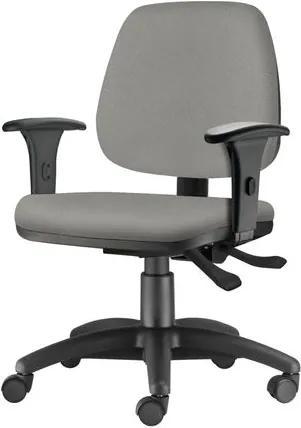 Cadeira Job com Bracos Semi Curvados Assento Courino Cinza Claro Base Nylon Arcada - 54630 Sun House