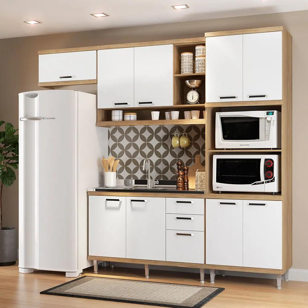 Cozinha Compacta Sem Tampo 9 Portas 5828 Argila/Branco - Multimóveis