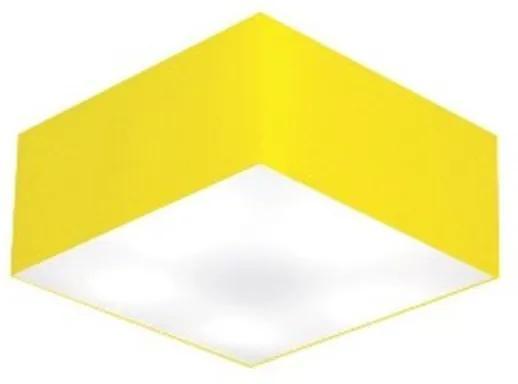 Plafon Quadrado Vivare Md-3000 Cúpula em Tecido 12/25x25cm - Bivolt - Amarelo - 110V/220V (Bivolt)