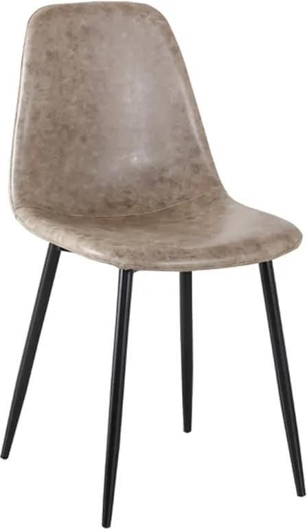 Cadeira Tânia  PU Cinza Vintage Base Preta Rivatti