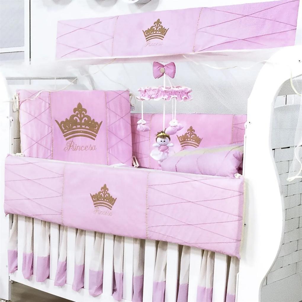 Kit Berço Padroeira Baby Princesa Luxo Rosa