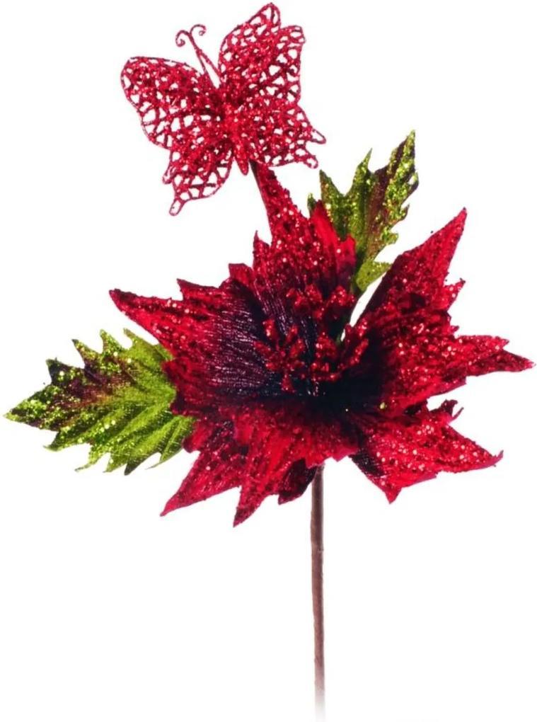 Flor Natalina Artificial Cabo Curto Vermelha Com Borboleta