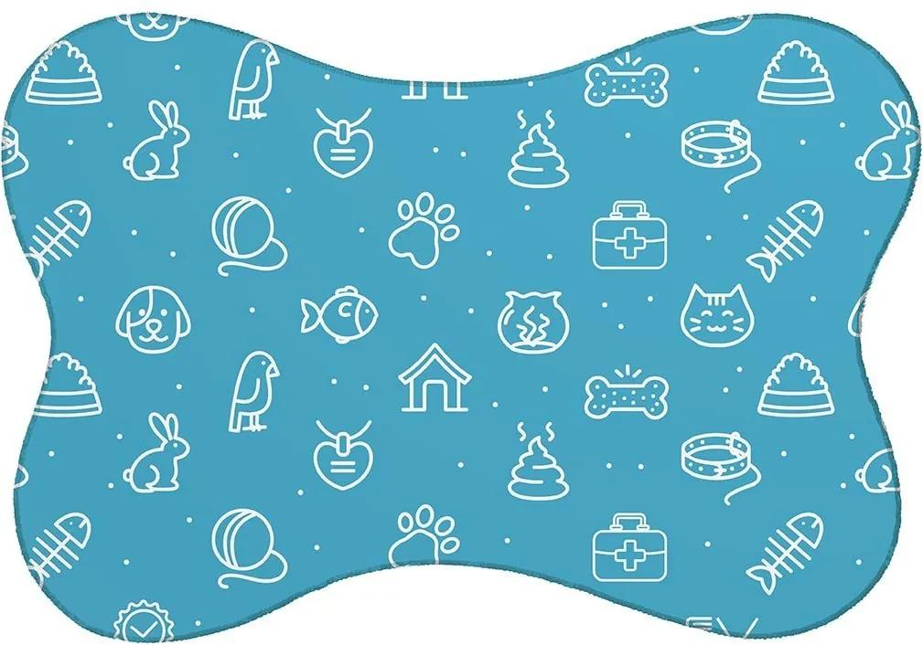 Tapete PET Mdecore Animais Azul46x33cm