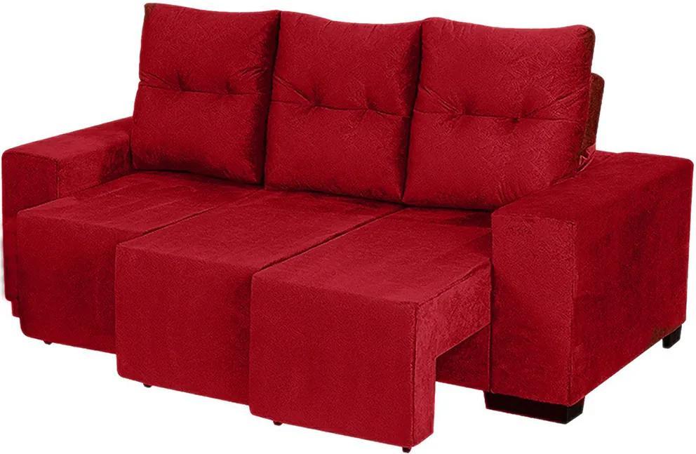 Sofá Retrátil E Reclinável Omega 2,02 Mts Tecido Suede Vermelho - Moveis Marfim