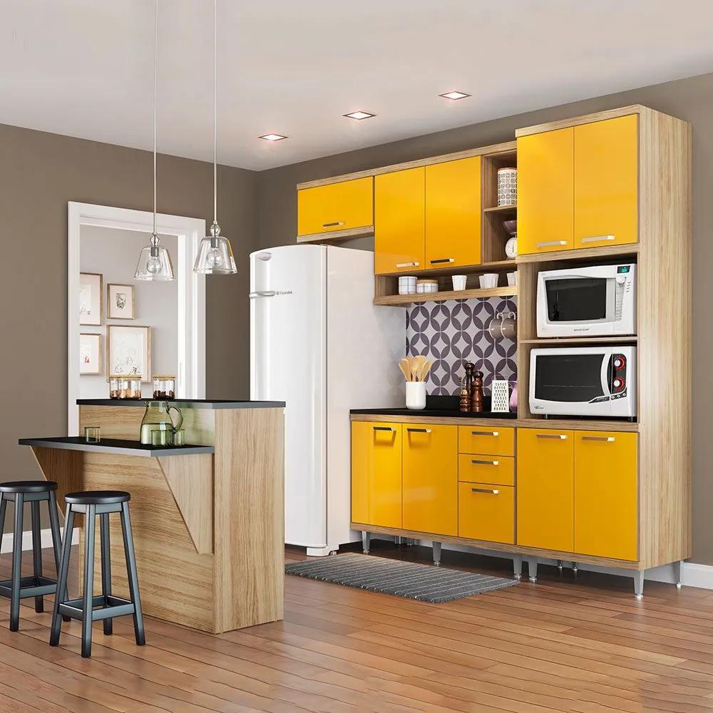 Cozinha Compacta Com Tampo 12 Portas 5844 Argila/Amarelo - Multimóveis