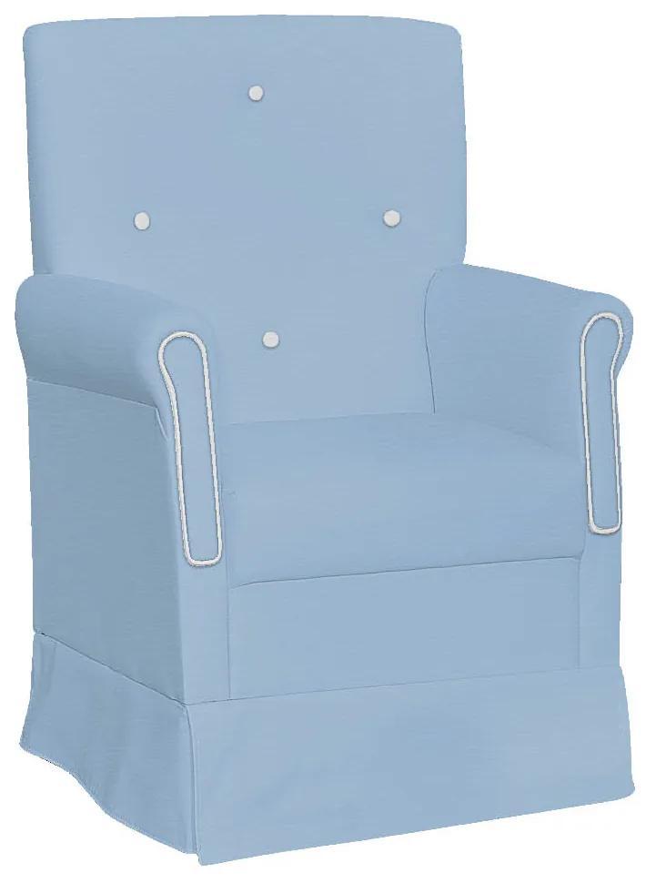 Poltrona de Amamentação Ester com Balanço Corano Azul Bebê com Botão Branco - ADJ DECOR