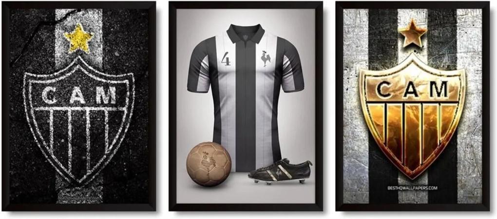 Quadros 3 Decorativos Com Moldura Clube Atlético Mineiro