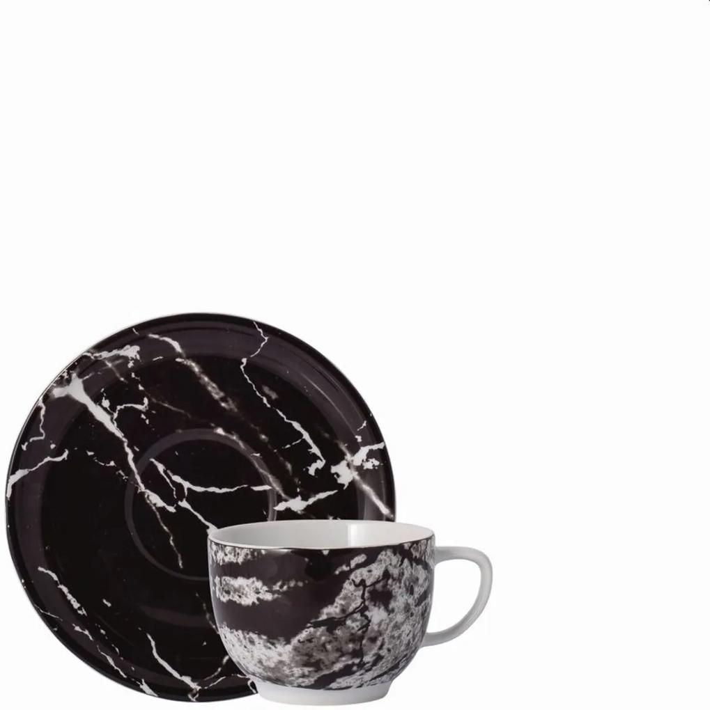 Xícara Chá com Pires 200 ml Porcelana Schmidt - Dec. Ônix Negro