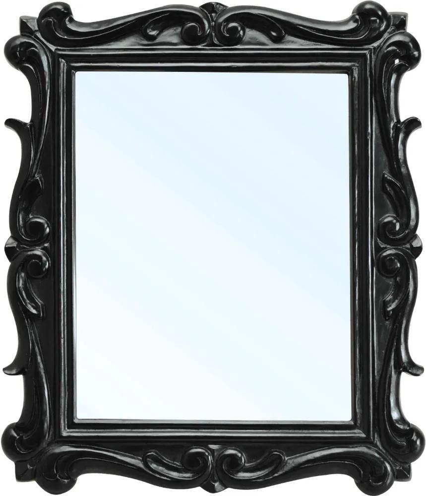 Espelho San Remo Entalhado em Resina e Pintura em Laca Preta