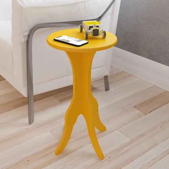 Mesa de Canto Glinde 100% MDF 30cm Amarelo