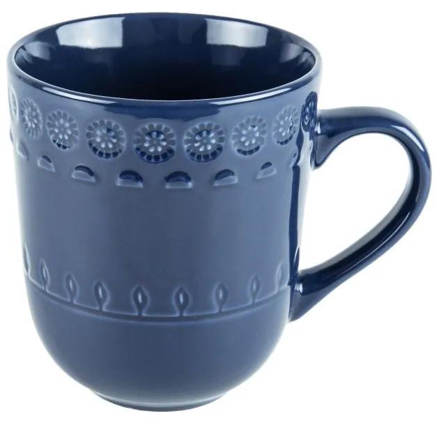 Jogo Canecas Porcelana 6 Peças Grace Azul 370ml 17566 Wolff