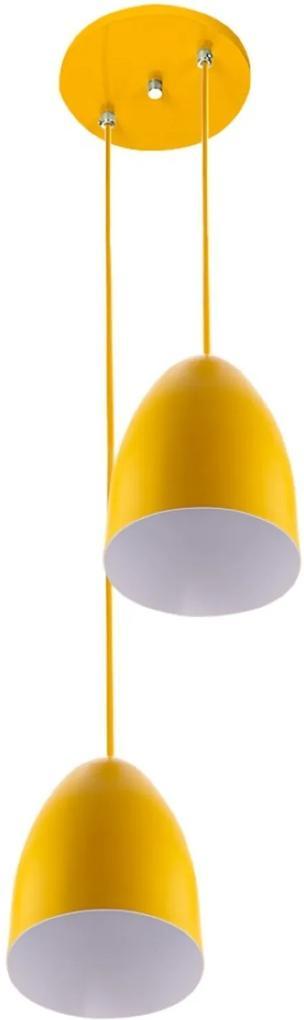 Pendente Cone Bala Sadan Aluminio Duplo Amarelo