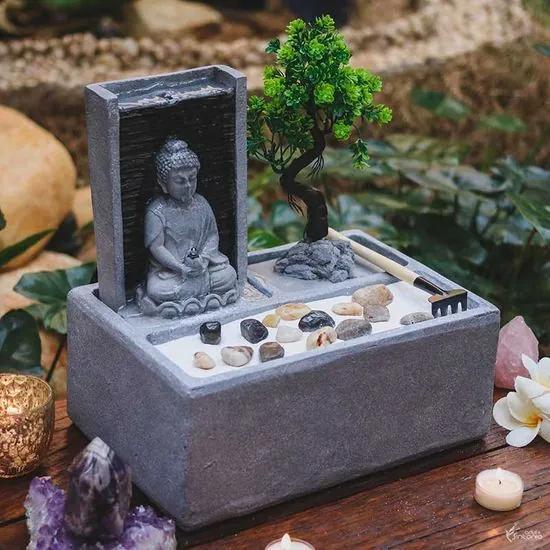 Fonte de Água Mini Jardim Zen c/ Buda