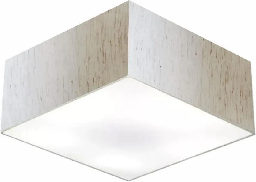 Plafon Quadrado Md-3053 Cúpula em Tecido 21/60x60cm Linho Bege - Bivolt