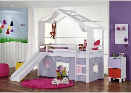 Cama Infantil com Escorregador, Telhado V, Xale e Tenda Castelo Lilás - Laca Branco Casatema