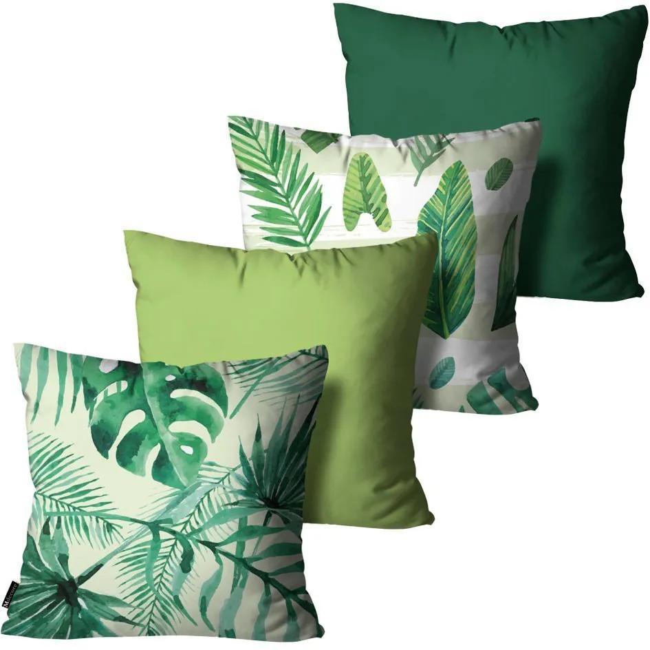 Kit com 4 Capas para Almofadas Floral Verde45x45cm