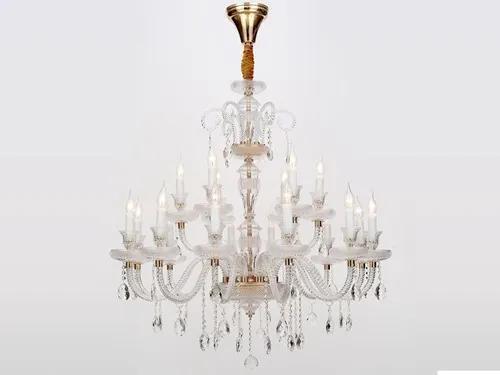 Lustre Lusbe 120cm em Metal, Cristal e Vidro