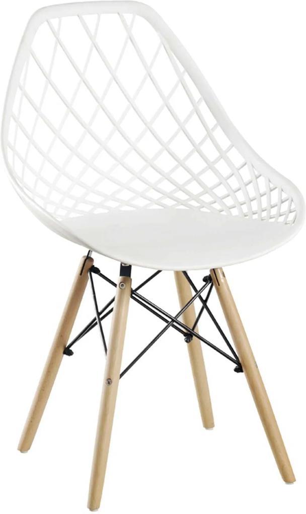 Cadeira Cloe Base Madeira Branco Rivatti