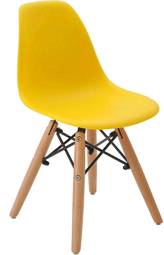 Cadeira Eiffel Infantil S Br Amarelo Base Madeira Rivatti