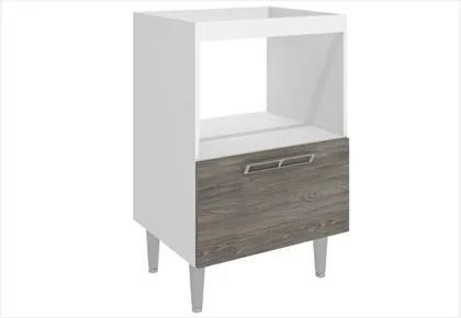 Balcão Alto sem tampo com 01 porta Basculante CZ605 Branco Rústico - Art In Móveis
