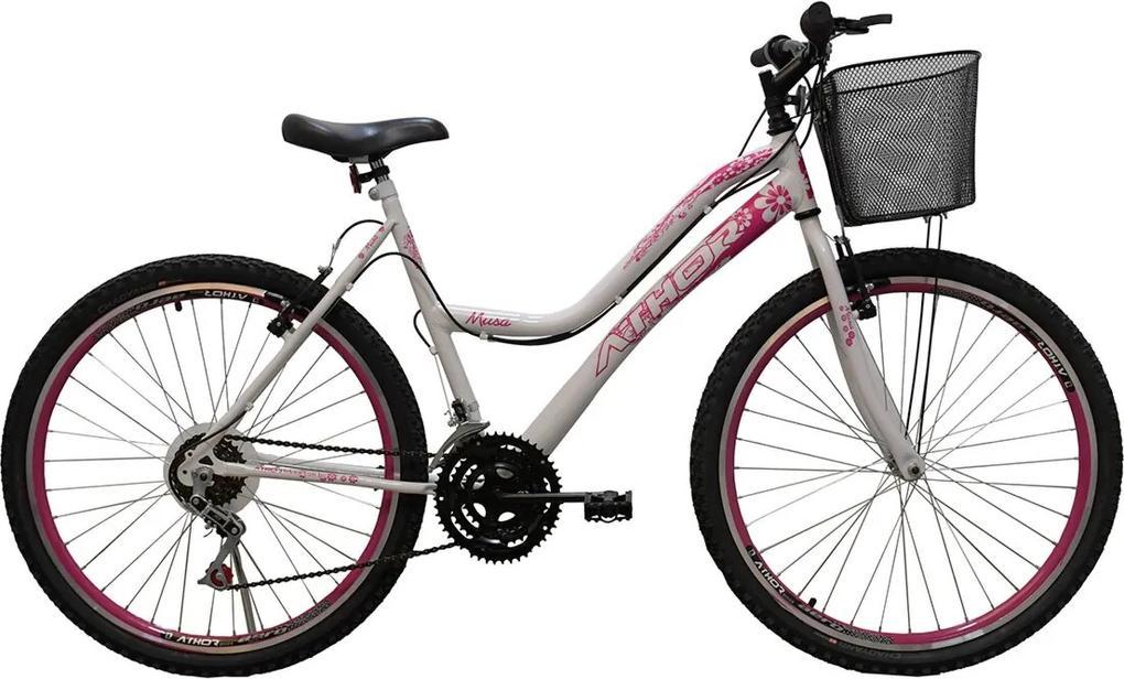 Bicicleta Aro 26 Mtb 18 Marchas Musa Feminina com CestÁo Branca/Rosa  Athor Bikes