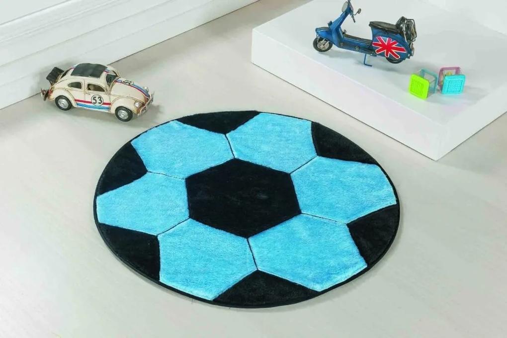 Tapete De Pelúcia Bola de Futebol Azul Turquesa