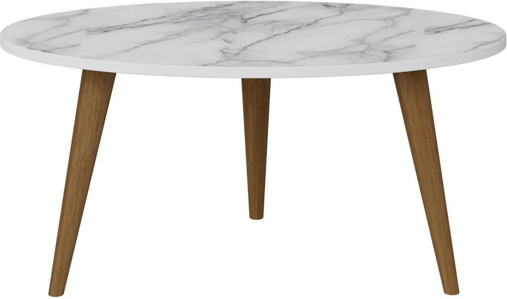 Mesa Oval Branco / Carrara Bentec