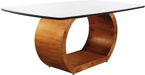 Mesa de Jantar 6 Lugares de Madeira Imbuia/Preto com Tampo de Vidro Branco 1,60m Sirkel